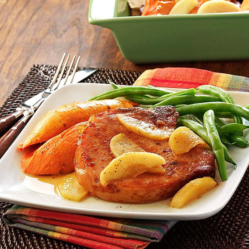Smoked Pork Chop with Sweet Potato and Fried Apples
