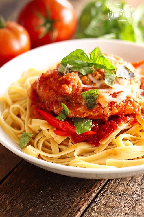 Chicken Caccitore over Spaghetti