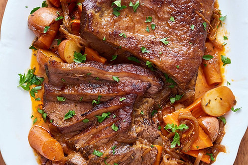 Oven Roasted Beef Brisket with Crispy Potato and Roasted Veggies