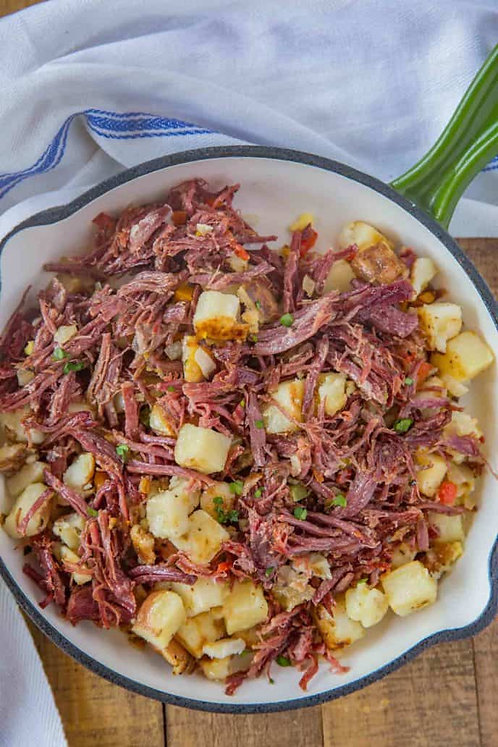 Homemade Corned Beef Hash served with Fried Cabbage