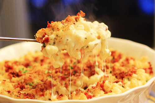 Baked Macaroni and Cheese with Bacon and Caramelized Onion