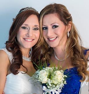 Bride and bridesmaid makeup