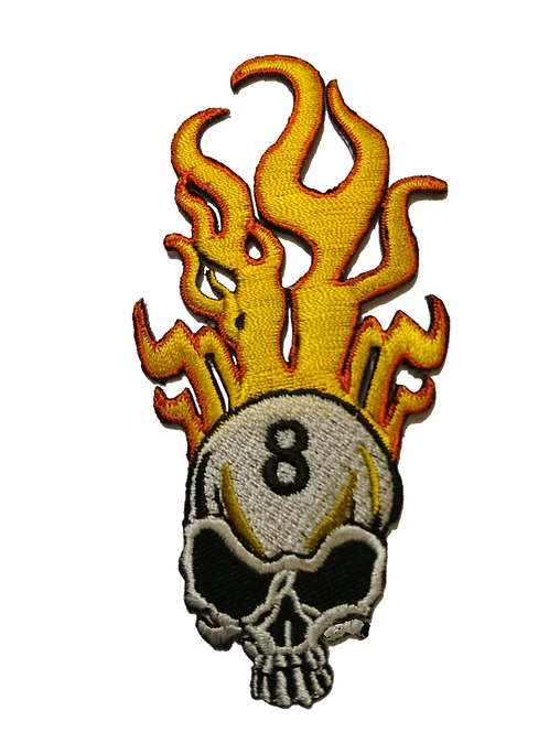 Flaming 8 Ball Skull Patch