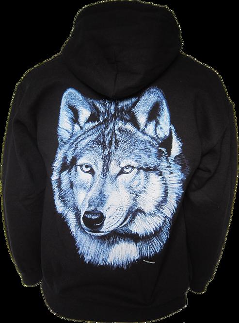 Lone Blue Wolf Zip Hoody