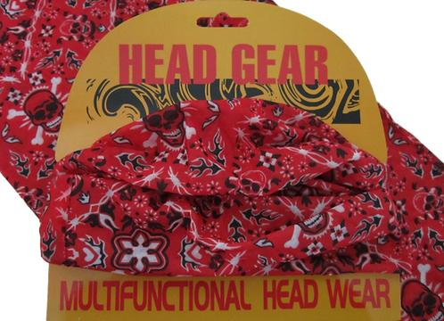 Red Skulls Pattern Face Mask Covering Neck Warmer Tube