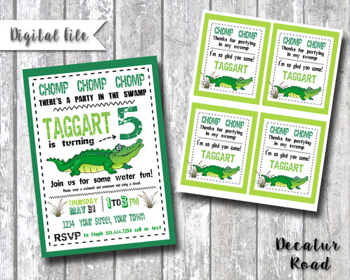 Welcome to the swamp alligator crocodile birthday party invitation delight the swamp creature loving little boy in your life with our alligaor crocodile birthday party invitation this listing is for a printable high filmwisefo
