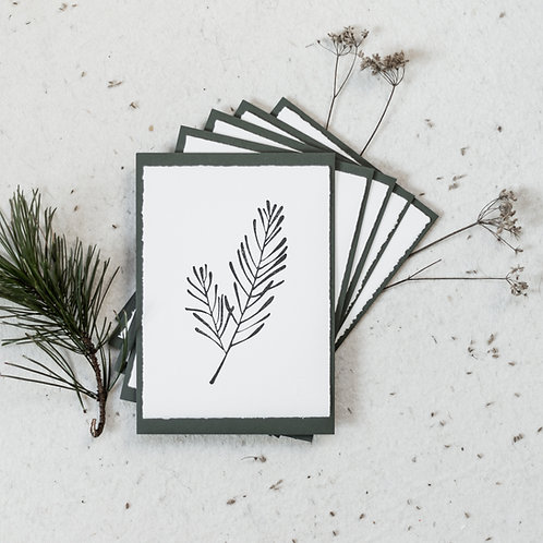 5 Christmas cards | green