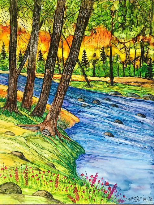 The River in Yellowstone; Original 8 1/2x11 Alcohol Ink