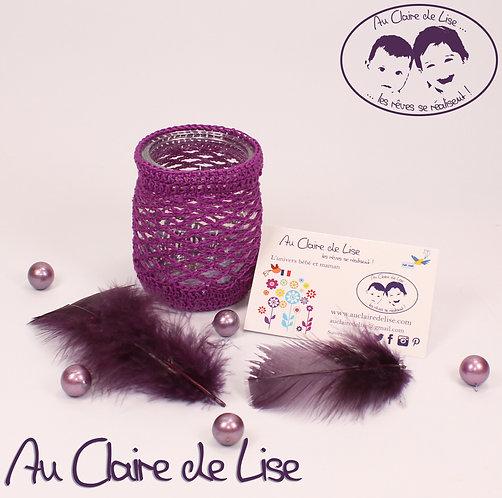Photophores ou pots à crayons violet au crochet, à vous de choisir !
