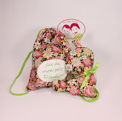 Ensemble cadeaux fleurs multico et vert pomme