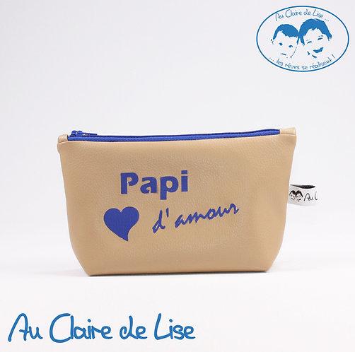 """Trousse beige en simili cuir """"Papi d'amour"""""""