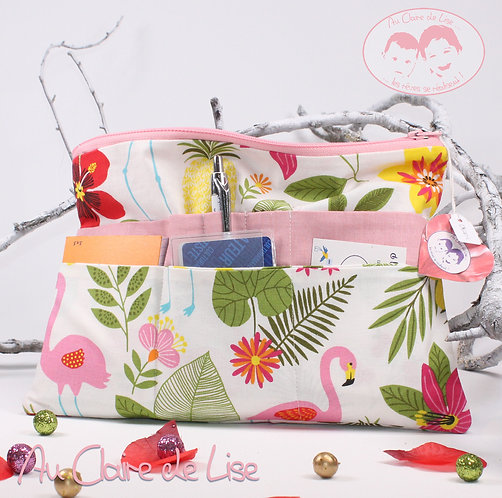 Organiseur de sac multipoches tropical et flamand rose