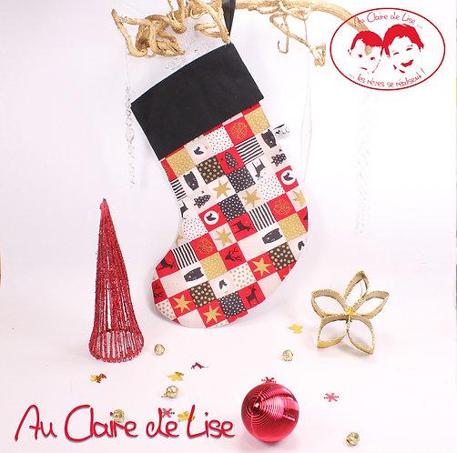 Chaussette de Noël à suspendre, motifs traditionnels noir, rouge, or