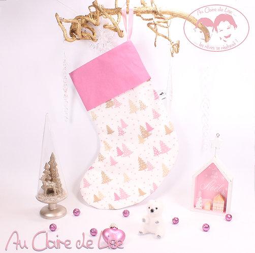 Chaussette de Noël à suspendre, sapin rose et beige