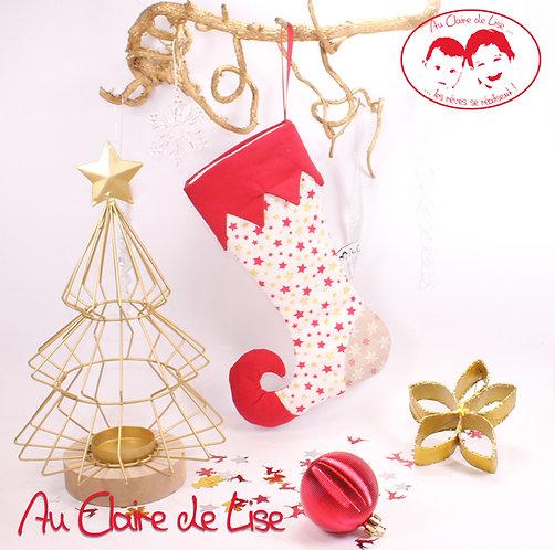 Botte de lutin de Noël à suspendre avec des étoiles or et rouge