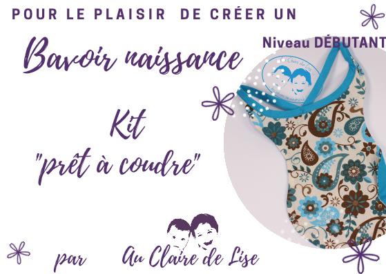 """KIT """"prêt à coudre - Bavoir naissance - fleurs turquoise et chocolat"""