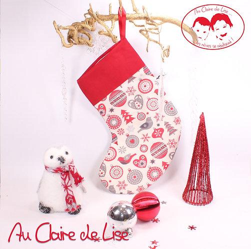 Chaussette de Noël à suspendre, motifs gris et rouge