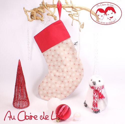 Chaussette de Noël à suspendre, flocons blanc et rouge
