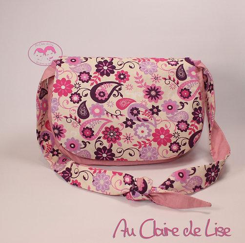 Sac à main souple multipoches avec jolies fleurs roses et violettes
