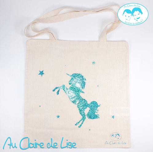 Tote bag jolie licorne avec étoiles turquoise