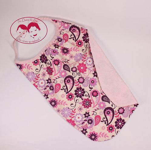 Grande serviette de table à fleurs rose, fuchsia et violet fond et biais rose