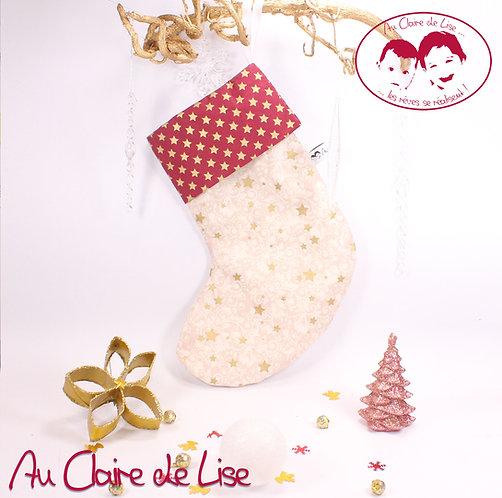 Chaussette de Noël à suspendre, étoiles or