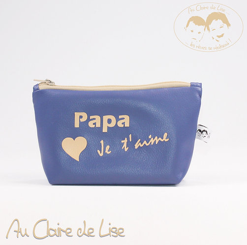 Trousse bleu en simili cuir Papa Je t'aime beige