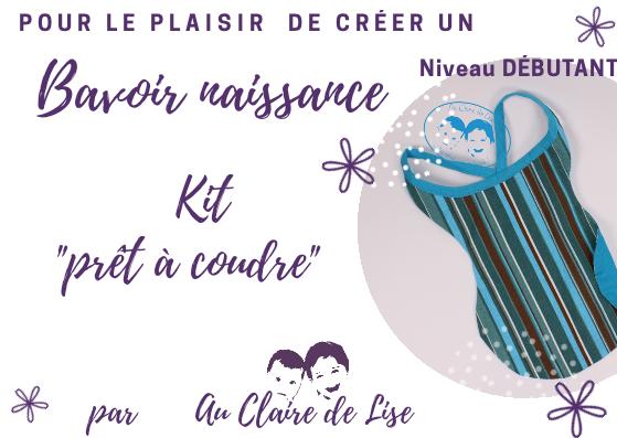 """KIT """"prêt à coudre - Bavoir naissance - Rayures turquoise et chocolat"""