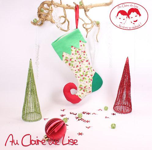 Botte de lutin de Noël à suspendre, motif houx.