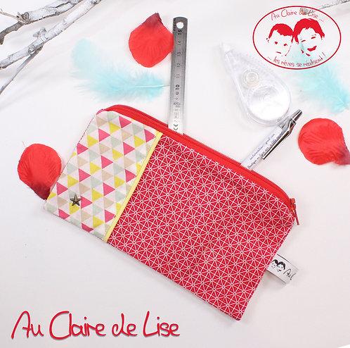 Trousse plate girly bi-imprimés géométriques rouge