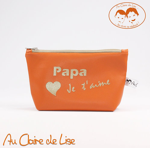 Trousse orange en simili cuir Papa Je t'aime
