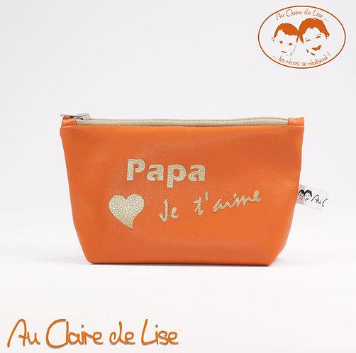 Trousse orange en simili cuir Papa Je t'aime