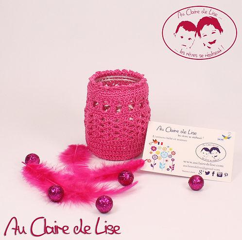 Photophores ou pots à crayons fuchsia au crochet, à vous de choisir !