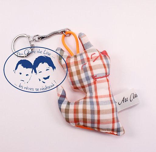 Porte-clé chien à carreaux orange et bleu pour homme ou femme