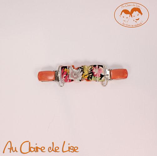 Attache-serviette universelle -fleurs multico et orange