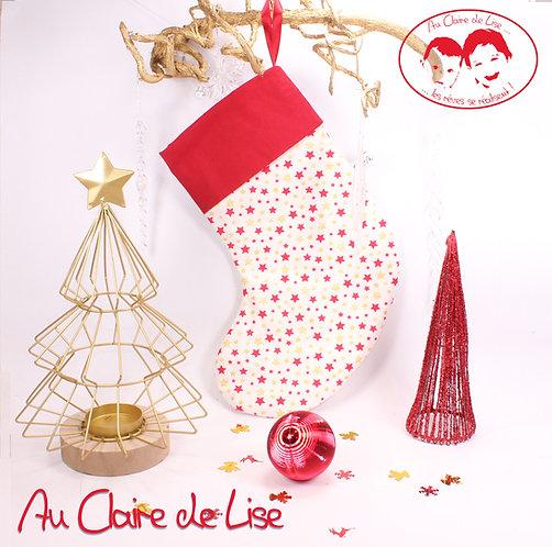 Chaussette de Noël à suspendre, étoiles rouge et or