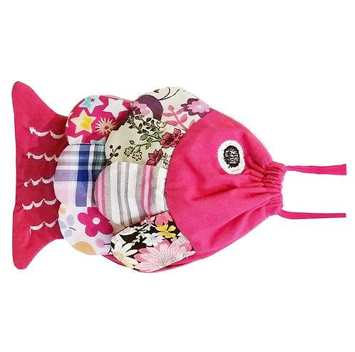 Petit sac - couleur fuchsia et multico - thème poisson