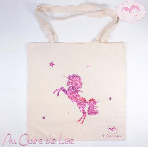 Tote bag jolie licorne avec étoiles rose