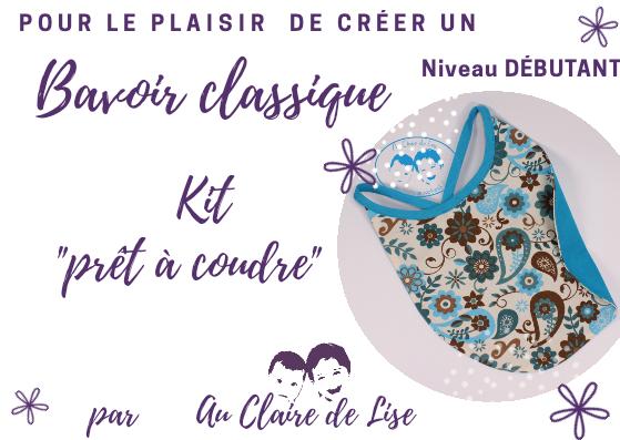 """KIT """"prêt à coudre - Bavoir Classique - fleurs turquoise et chocolat"""