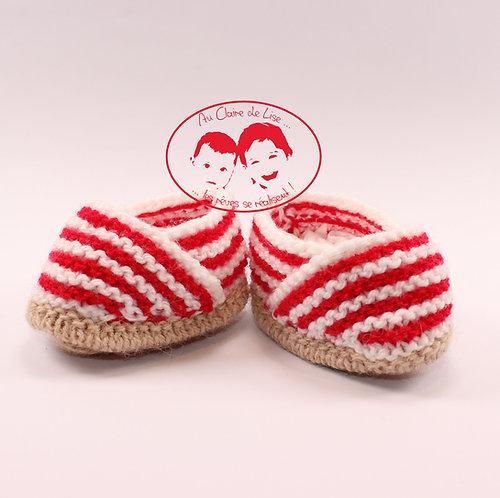 Petites espadrilles chaussons en laine tricoté main pour bébé 0/3 mois