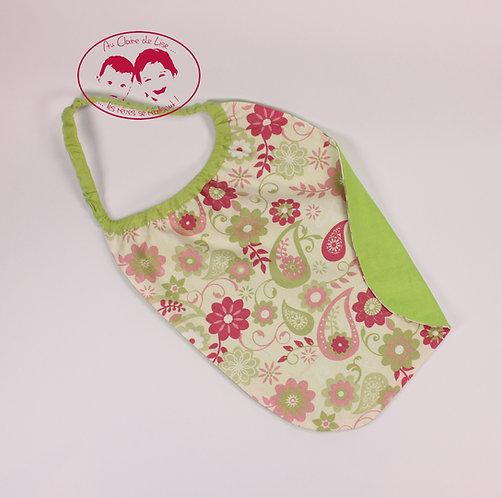 Bavoir élastiqué fleurs rose et verte fond et biais vert pomme