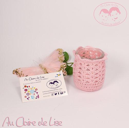 Photophores ou pots à crayons rose au crochet, à vous de choisir !