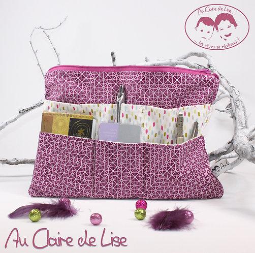 Organiseur de sac multipoches bi-imprimés géométriques violet et confettis