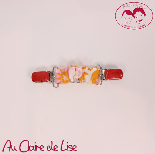 Attache-serviette universelle - fleurs multico et rouge