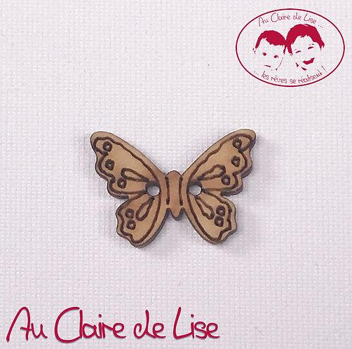 Bouton fantaisie bois papillon 2 trous