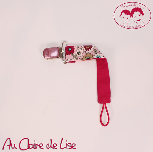 Attache-tétine - couleur fuchsia et rose - thème fleurs