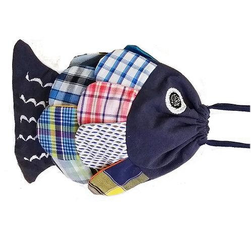 Petit sac - couleur bleu marine et multico - thème poisson