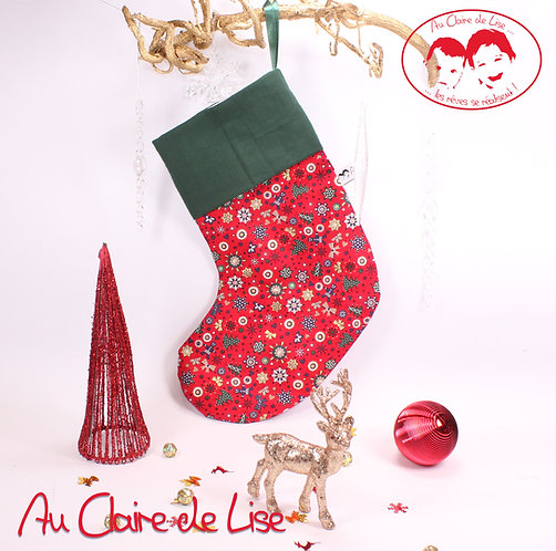 Chaussette de Noël à suspendre, motifs traditionnels