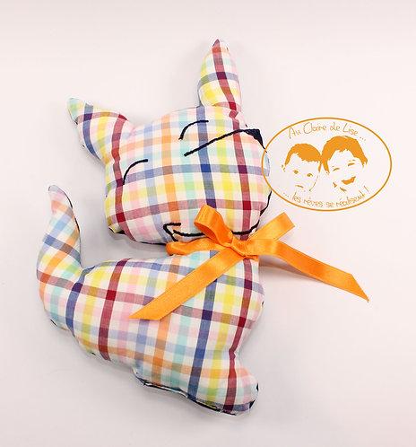 Coussin chien carreaux multico avec ruban couleur orange