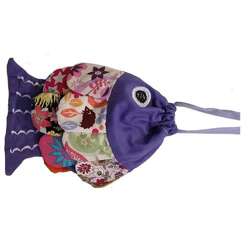 Petit sac - couleur mauve et multico - thème poisson